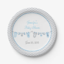 Little Man Baby Clothesline Paper Plates