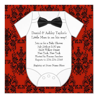 Little Man Baby Shower 5.25x5.25 Square Paper Invitation Card