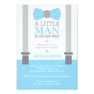 Little Man Baby Shower Invitation, Baby Blue, Gray Card