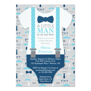 Little Man Baby Shower Invitation, Baby Blue, Navy Card at Zazzle