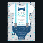 "Little Man Baby Shower Invitation, Baby Blue, Navy Invitation<br><div class=""desc"">Invite attendees to your shower with this classic little man themed baby shower invitation! Available in many colors and patterns.  Matching diaper raffle tickets here: http://www.zazzle.com/little_man_diaper_raffle_ticket_baby_blue_navy_business_card-240457670667461994</div>"