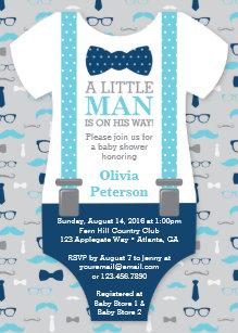 Baby shower invitations zazzle little man baby shower invitation baby blue navy invitation filmwisefo
