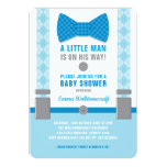 Little Man Baby Shower Invitation Blue Bowtie