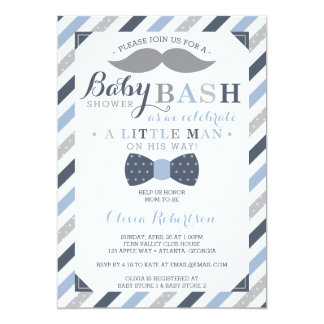 Little Man Baby Shower Invitation, Blue, Gray Card