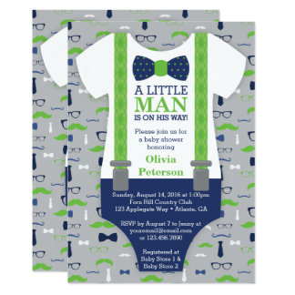 Little Man Baby Shower Invitation, Blue, Green Card