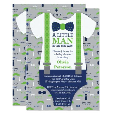Toddler & Baby themed Little Man Baby Shower Invitation, Blue, Green Card