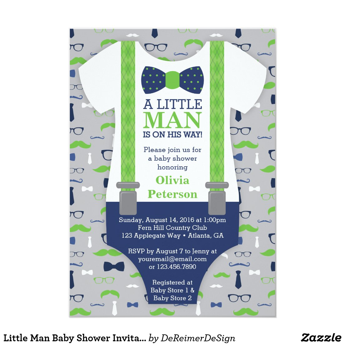 Little Man Baby Shower Invitation, Blue, Green