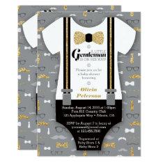 Little Man Baby Shower Invitation, Faux Glitter Card at Zazzle