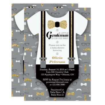 Toddler & Baby themed Little Man Baby Shower Invitation, Faux Glitter Card