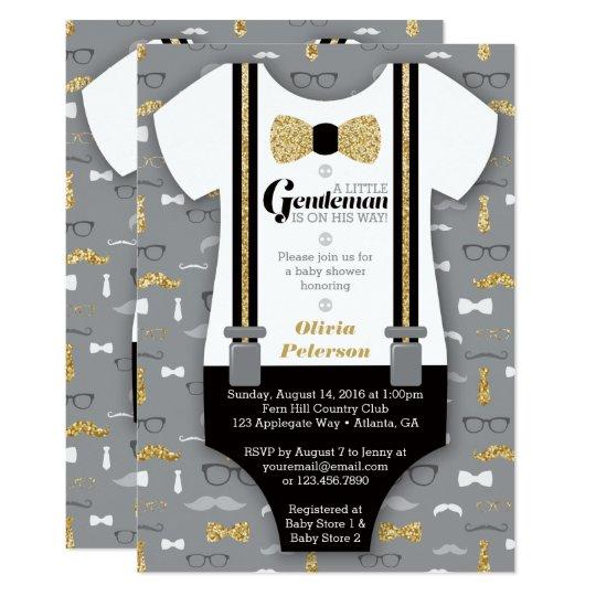Little Man Baby Shower Invitation, Faux Glitter Card | Zazzle.com