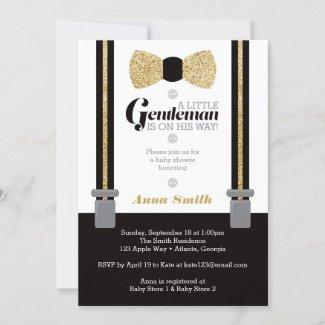 Little Man Baby Shower Invitation, Gold Bow Tie & Suspenders