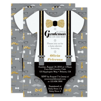 Little Man Baby Shower Invitation, Gold, Black Card