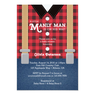 Little Man Baby Shower Invitation, Lumberjack Card