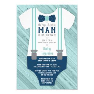Little Man Baby Shower Invitation Navy Blue Aqua