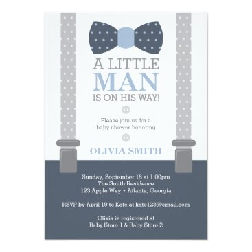 Toddler & Baby themed Little Man Baby Shower Invitation, Navy Blue, Gray Card