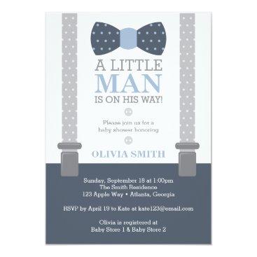 DeReimerDeSign Little Man Baby Shower Invitation, Navy Blue, Gray Card