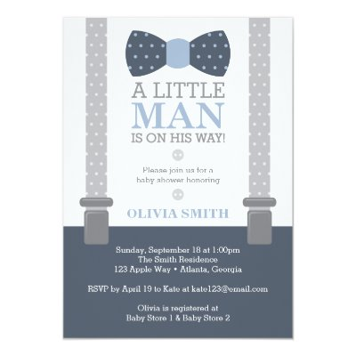 Little Man Baby Shower Invitation Navy Blue Gray Card Zazzle Com