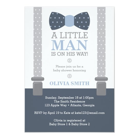 Baby shower invitations zazzle little man baby shower invitation navy blue gray card pronofoot35fo Image collections