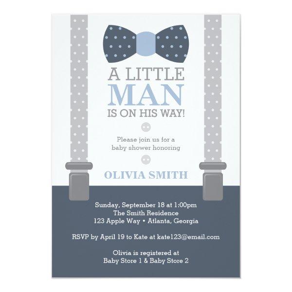 Little Man Baby Shower Invitation, Navy Blue, Gray Card