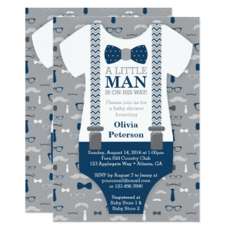 Little Man Baby Shower Invitation, Navy Blue, Gray Card