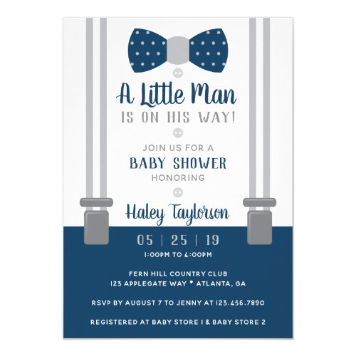 Little Man Baby Shower Invitation Navy Blue Gray Invitation