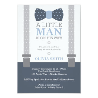 Little Man Baby Shower Invitation, Navy Blue, Gray Invitation