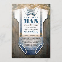 Little Man Baby Shower Invitation | Rustic Country