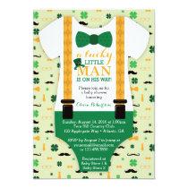Little Man Baby Shower Invitation, St Patricks Day Card
