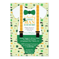 Little Man Baby Shower Invitation, St Patricks Day Card at Zazzle