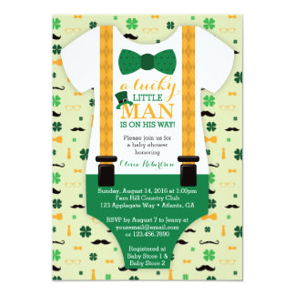 Little Man Baby Shower Invitation, St Patricks Day Card
