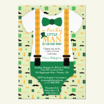 Little Man Baby Shower Invitation, St Patricks Day Invitation