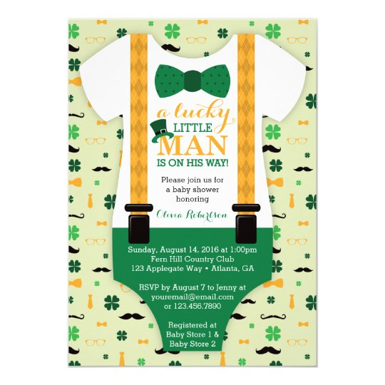 little man baby shower invitation st patricks day invitation
