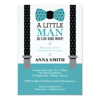 Little Man Baby Shower Invitation, Teal and Black Card