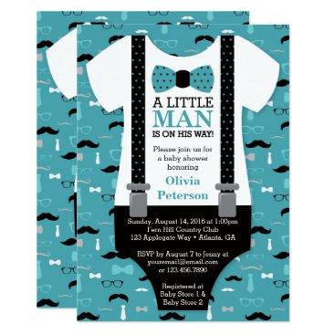DeReimerDeSign Little Man Baby Shower Invitation, Teal, Black Card