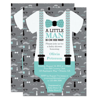 Little Man Baby Shower Invitation, Teal, Black Card
