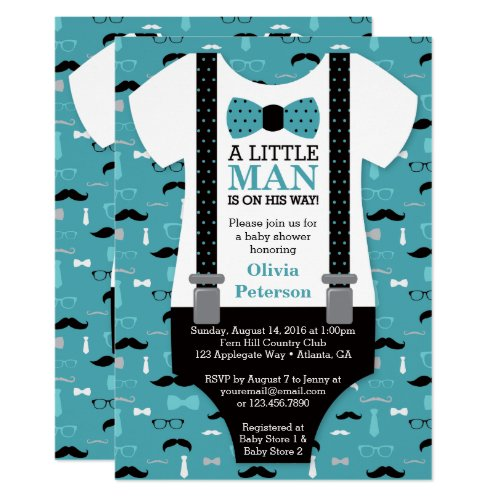 Little Man Baby Shower Invitation Teal Black Invitation