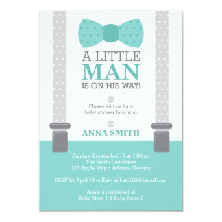 Little Man Baby Shower Invitation, Teal Blue, Gray Card