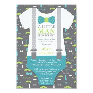 little man baby shower invitation teal green card