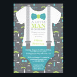 "Little Man Baby Shower Invitation, Teal, Green Invitation<br><div class=""desc"">Invite attendees to your shower with this classic little man themed baby shower invitation! Available in many colors and patterns.</div>"