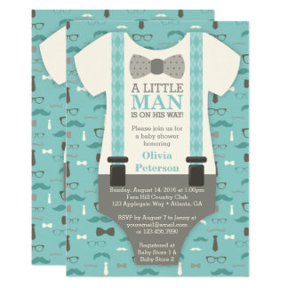 Little Man Baby Shower Invitation, Teal, Tan Card