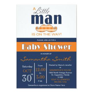 Little Man Baby Shower Navy Blue and Orange Card