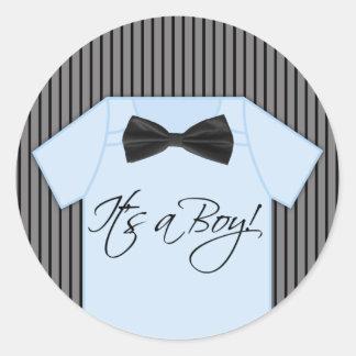 Little Man Baby Shower Classic Round Sticker