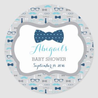 Little Man Baby Shower Sticker, Baby Blue, Navy Classic Round Sticker