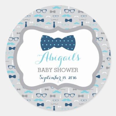 Blue Little Man Mustache Baby Shower Sticker   Zazzle.com