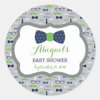 Little Man Baby Shower Sticker, Blue, Green, Gray Classic Round Sticker