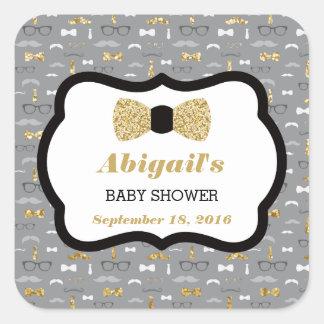 Little Man Baby Shower Sticker, Gold, Gray, Black Square Sticker
