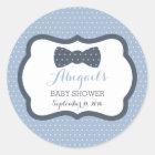 Little Man Baby Shower Sticker, Navy Blue, Gray Classic Round Sticker