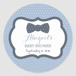 Little Man Baby Shower Sticker, Navy Blue, Gray Classic Round Sticker