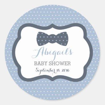 Toddler & Baby themed Little Man Baby Shower Sticker, Navy Blue, Gray Classic Round Sticker