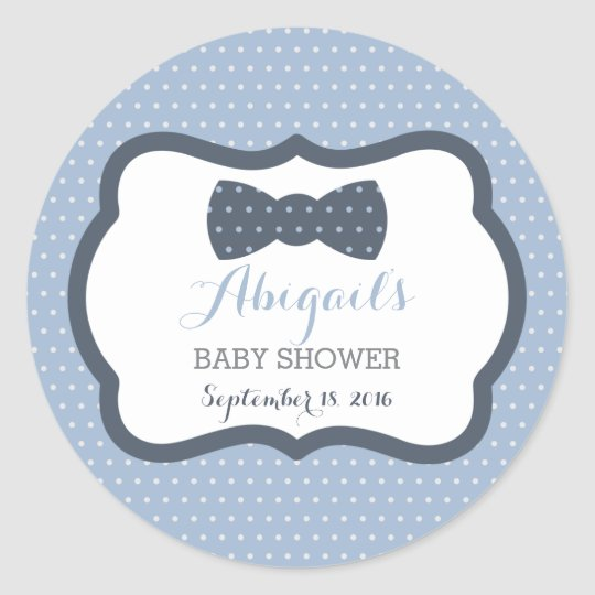 Little man baby shower sticker navy blue gray classic round sticker